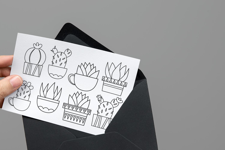 Succulent cactus clip art illustrations bundle example image 7