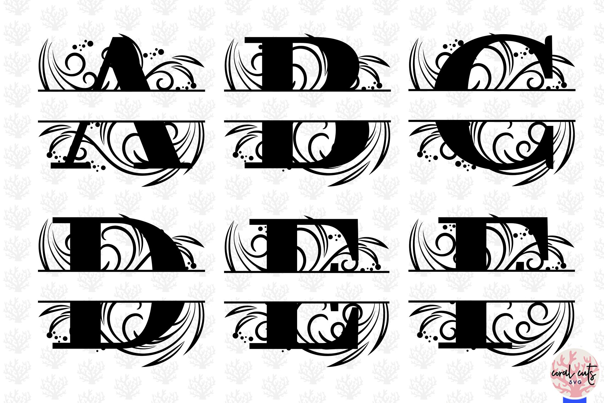 Floral Split Monogram Cut Files - Svg EPS DXF PNG File example image 2