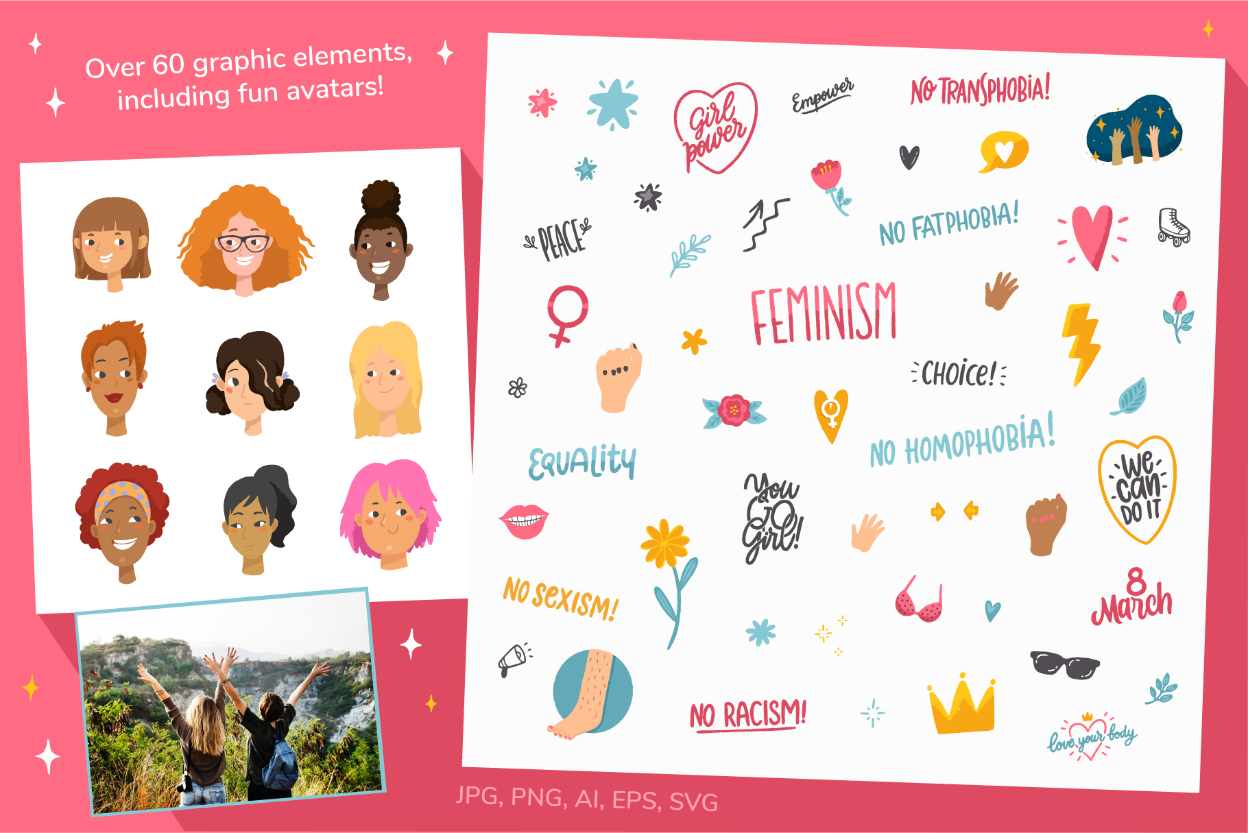 Feminism, vector letterings and graphics example image 5