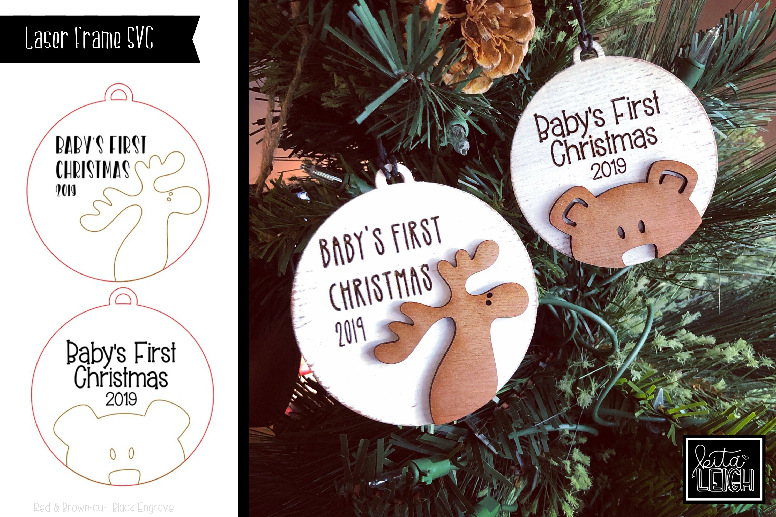 Laser Engraved/Cut Baby's First Christmas 2019 Ornaments SVG example image 1