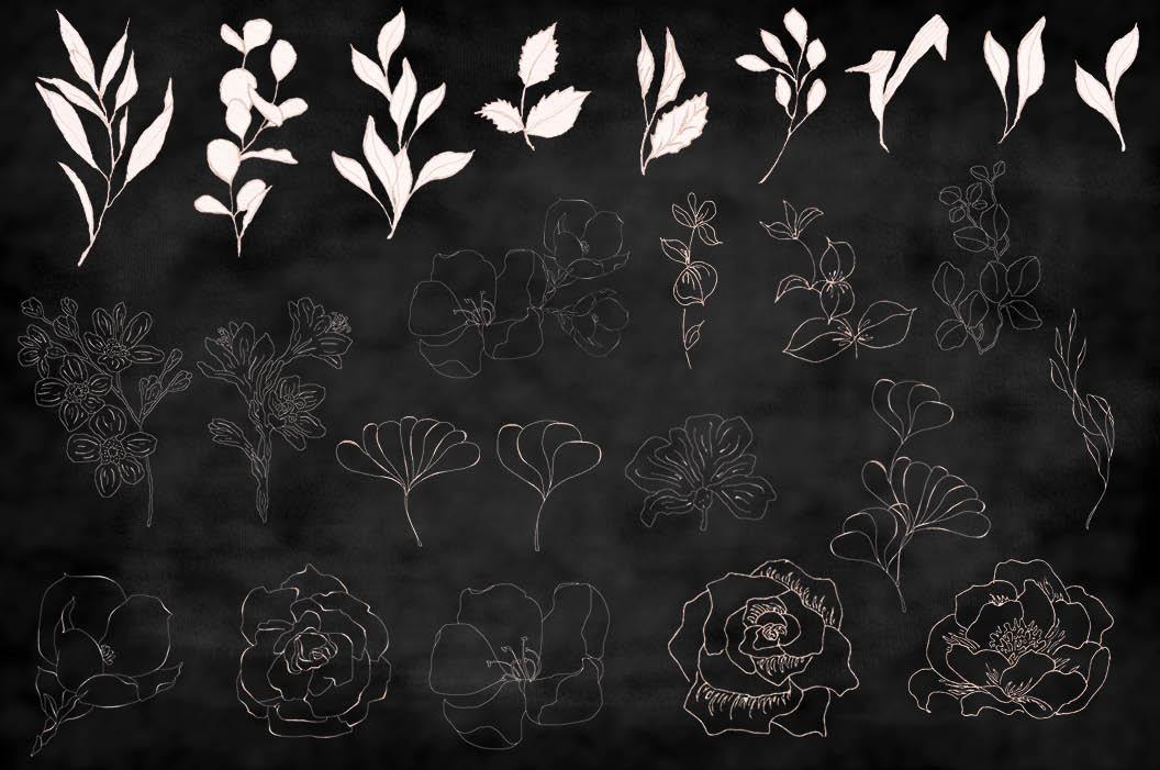 Blush foliage clip art bundle example image 9