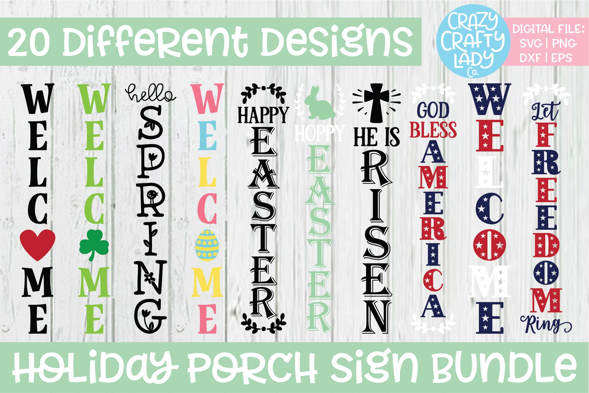 Holiday Porch Sign SVG DXF EPS PNG Cut File Bundle example image 1