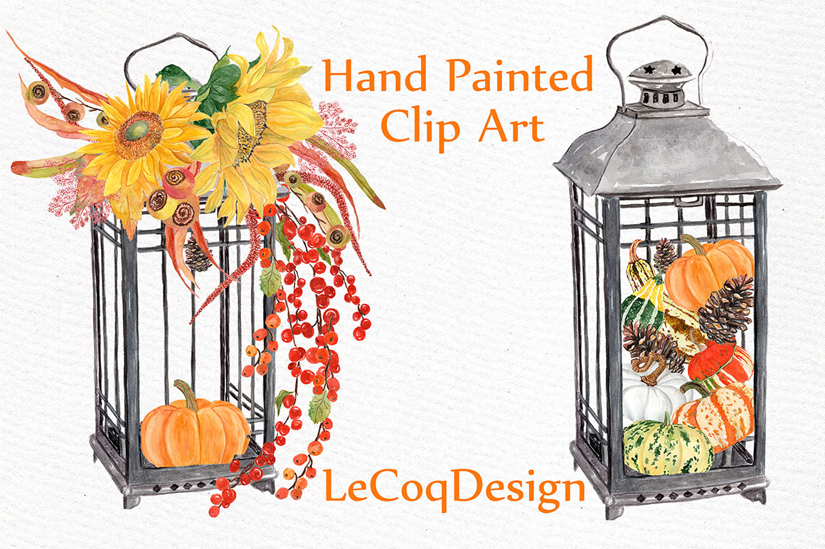 Watercolor pumpkin clipart example image 2