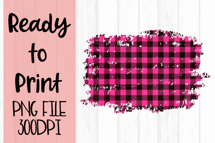 Hot Pink Buffalo Plaid Frame Ready to Print example image 1