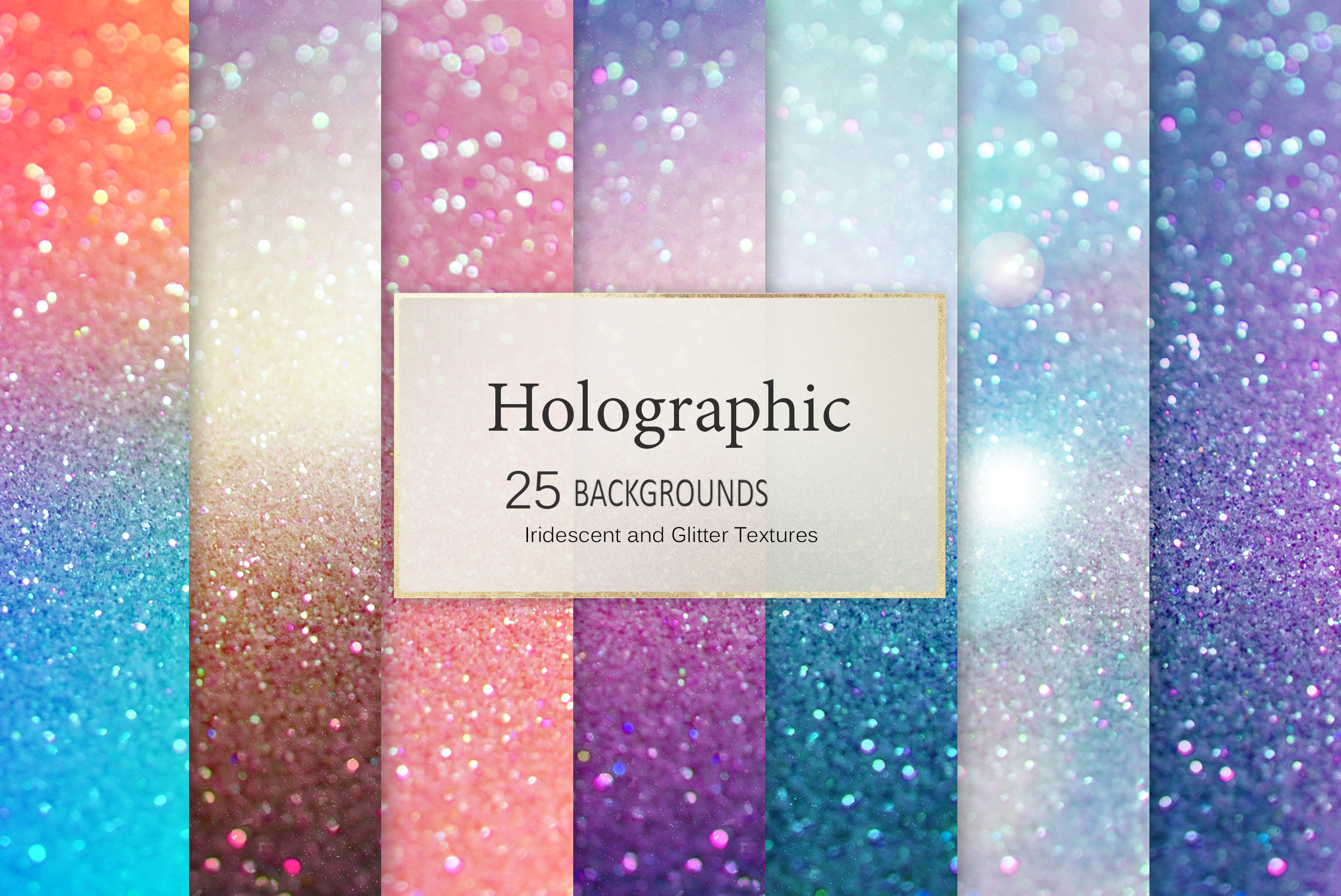 Iridescent 95 Glitter Textures Holographic Backgrounds example image 9
