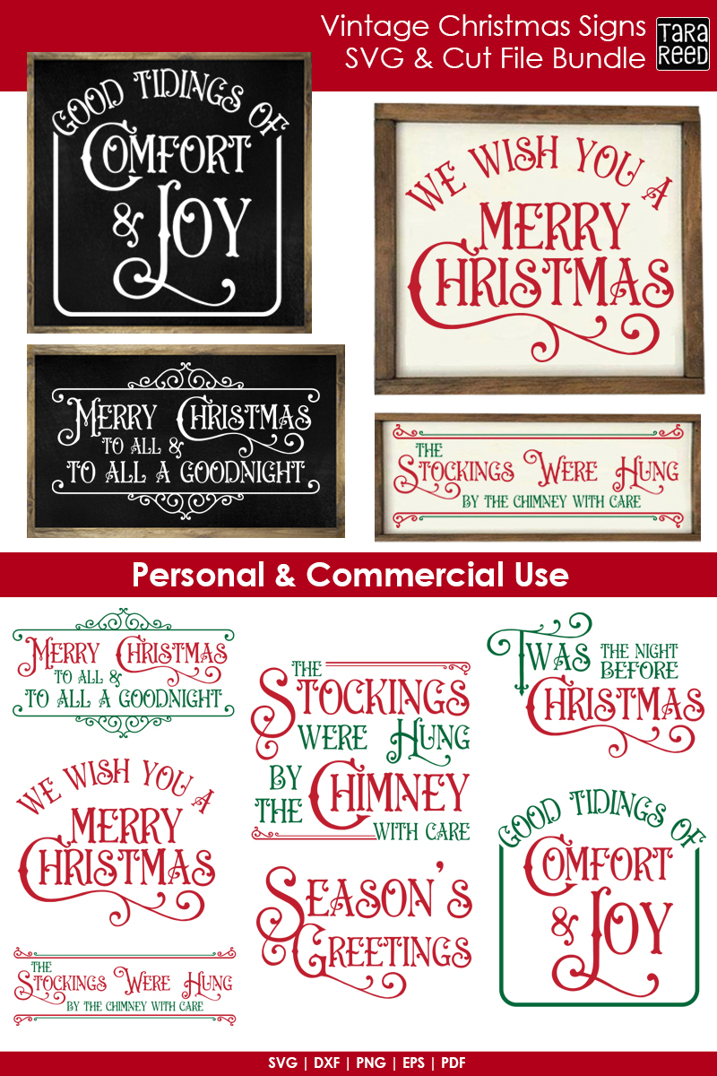 Vintage Christmas Signs - SVG & Cut Files for Crafters example image 2