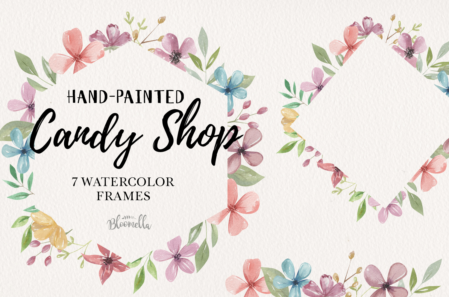 Candy Shop Flowers 7 Frames Borders Watercolor Pastels Pink example image 1