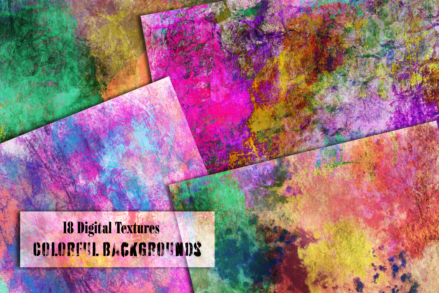 Colorful splash backgrounds. Grungy Digital textured papers example image 2