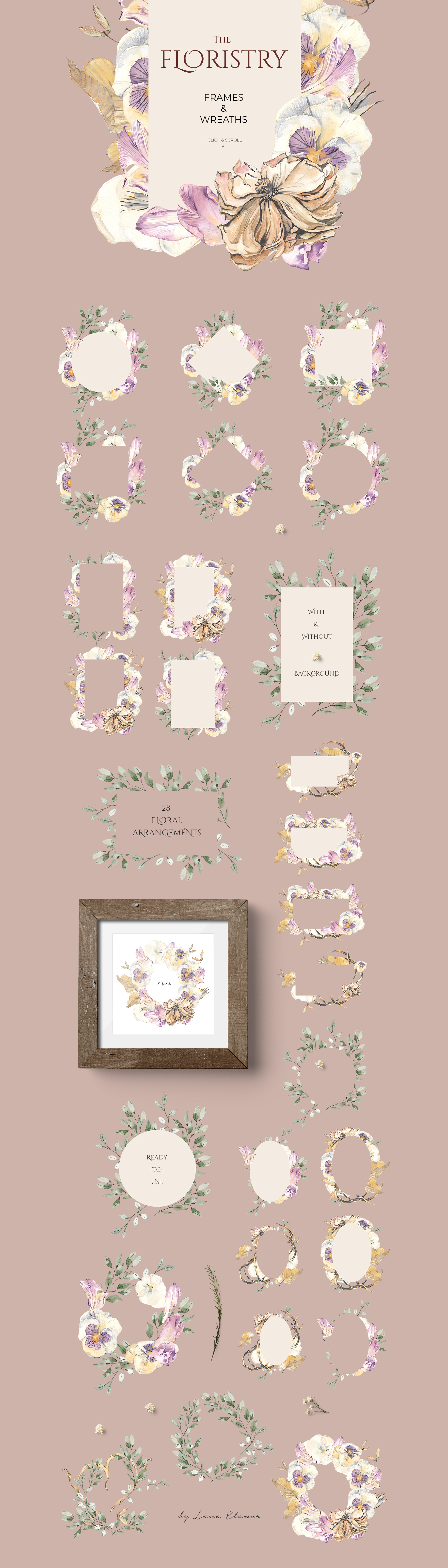 THE FLORISTRY floral collection - watercolor, line art, real example image 4