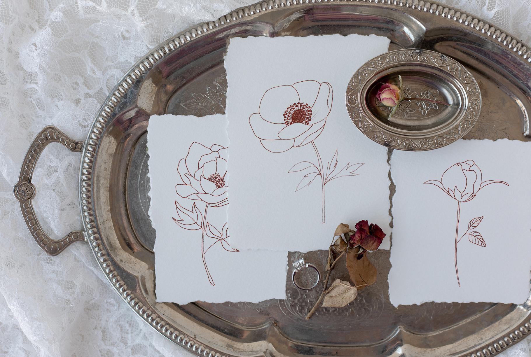 Fine Art Florals - Pencil Sketches example image 9