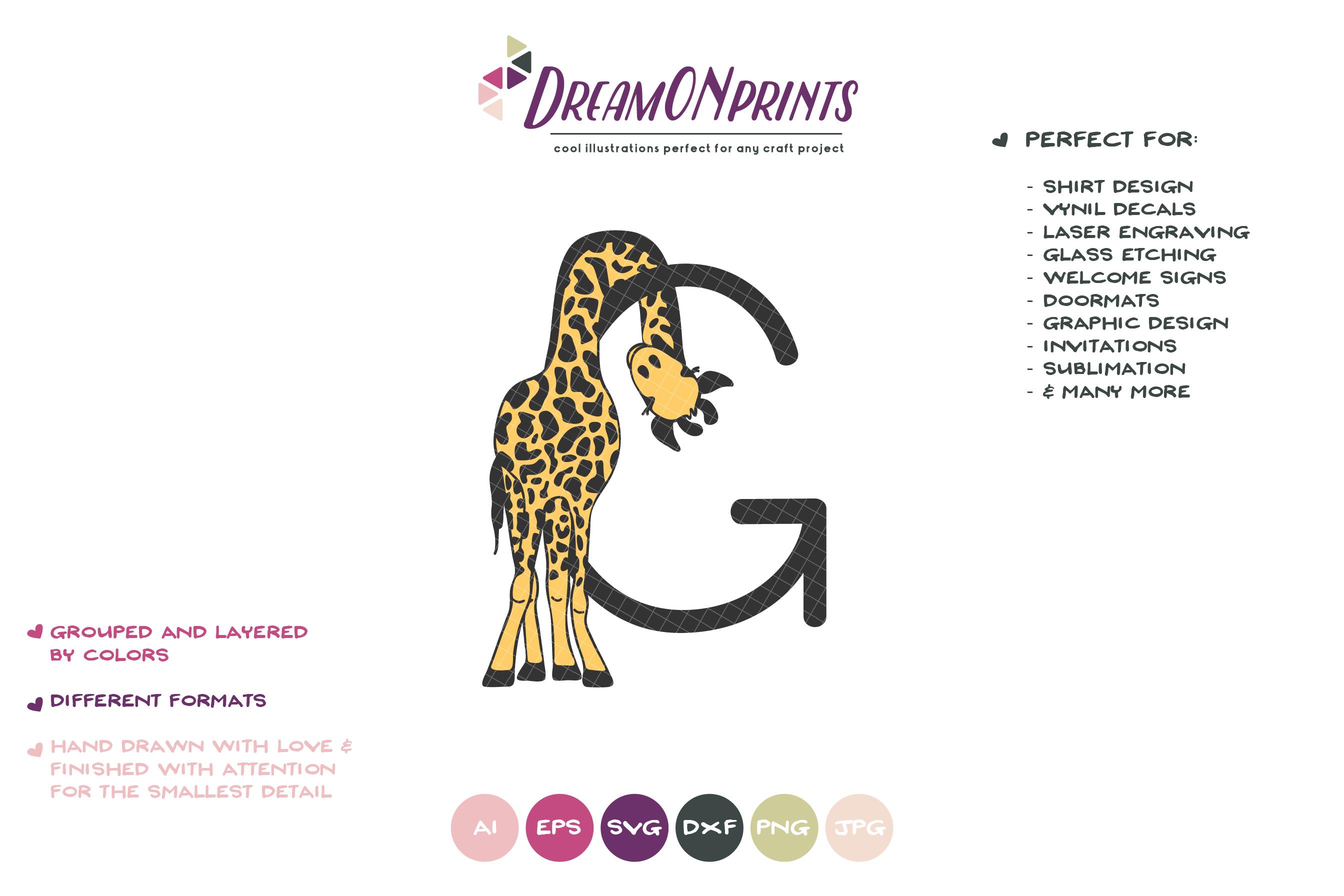 Letter G SVG Cut File | Monogram Letter G with Giraffe example image 2