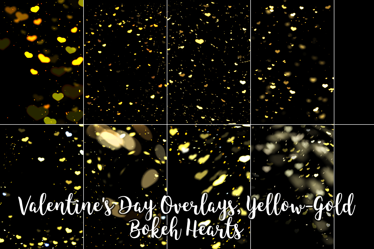 Valentine's Day Overlays, Yellow Gold Hearts Bokeh Overlays example image 4