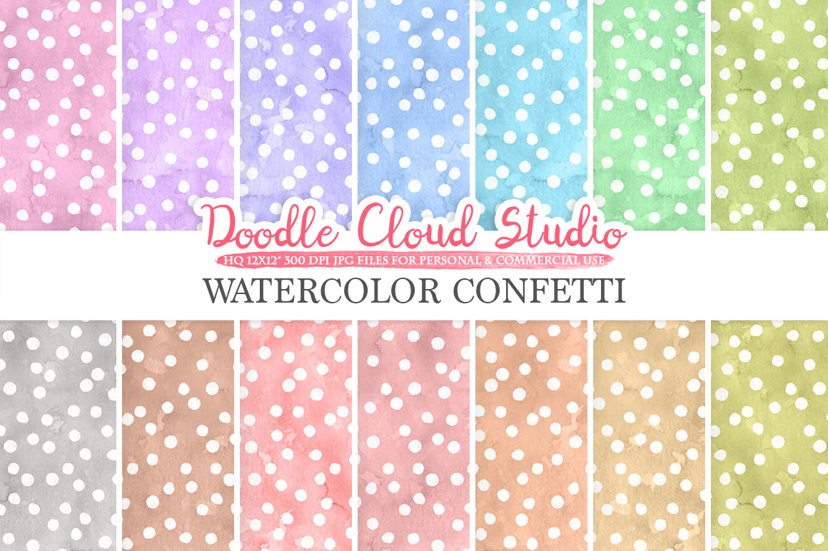 Watercolor Confetti digital paper, Confetti patterns, pastel watercolor background, Instant Download for Personal & Commercial Use example image 1
