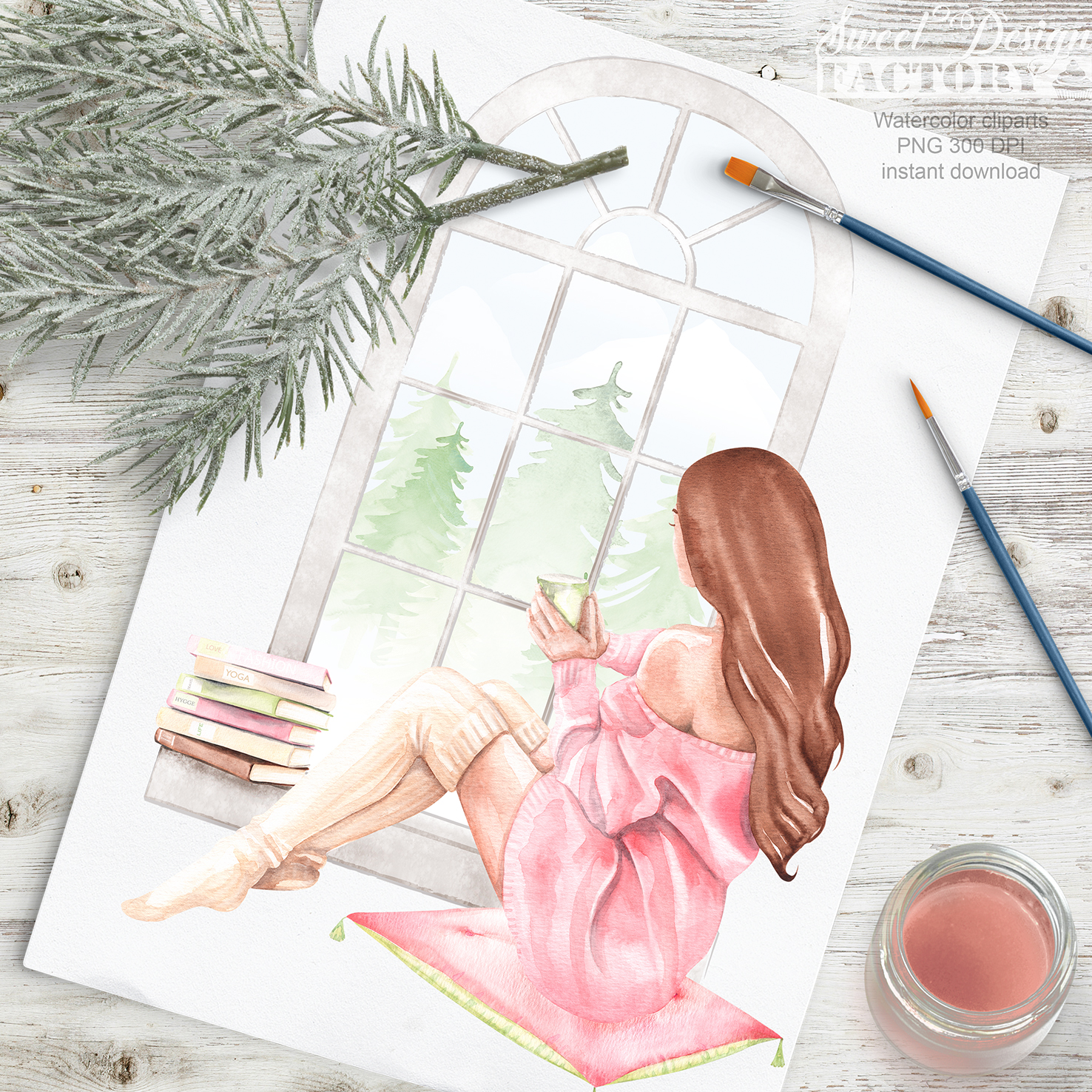 Cozy winter clipart. example image 6