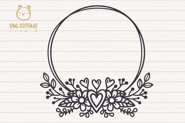 Valentines Floral Monogram cut file, Circle Flowers Wreaths example image 2