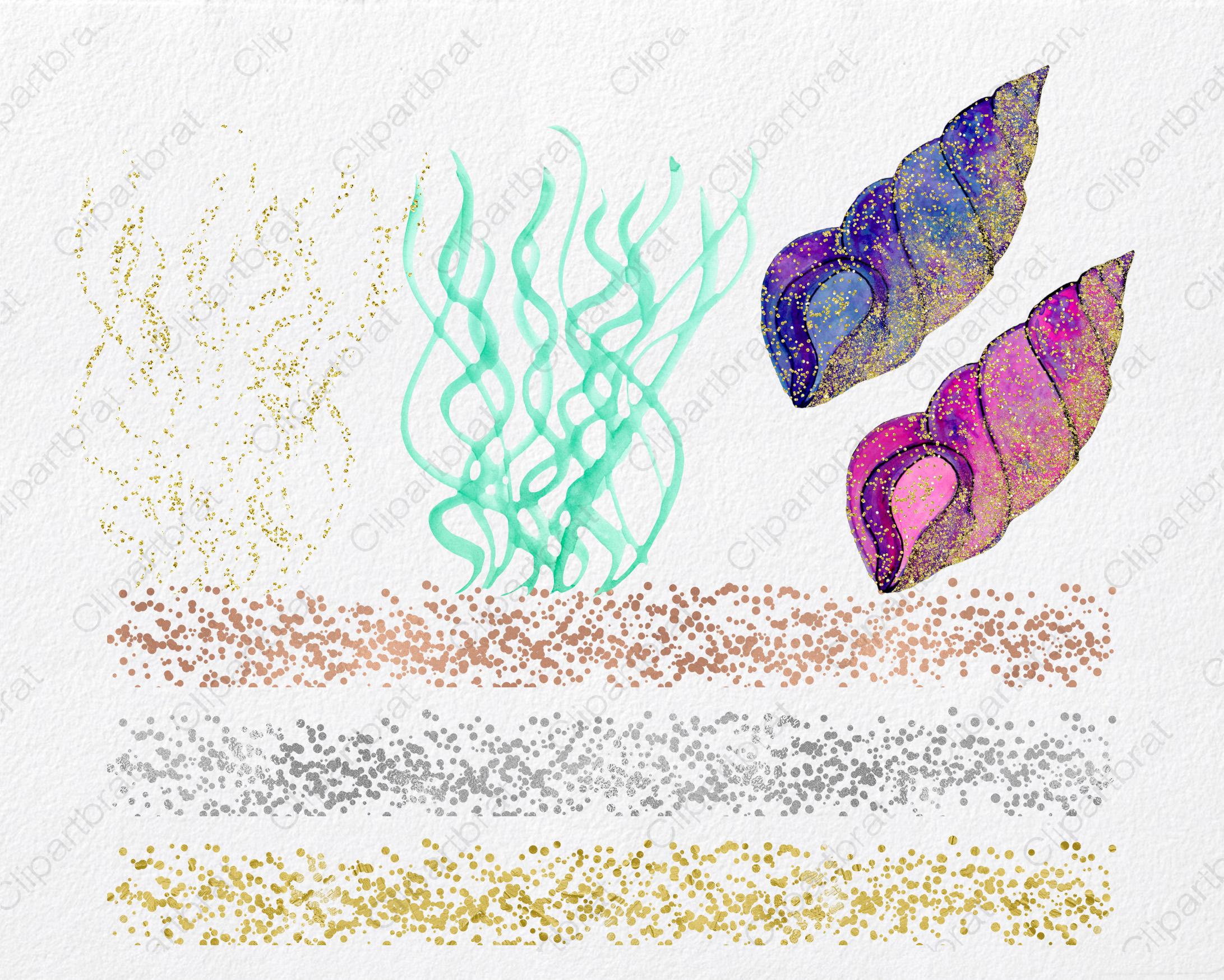 WATERCOLOR MERMAID Clipart  with Metallic Gold Confetti Mermaids Shells Starfish Ocean Watercolour Splash Graphics example image 2