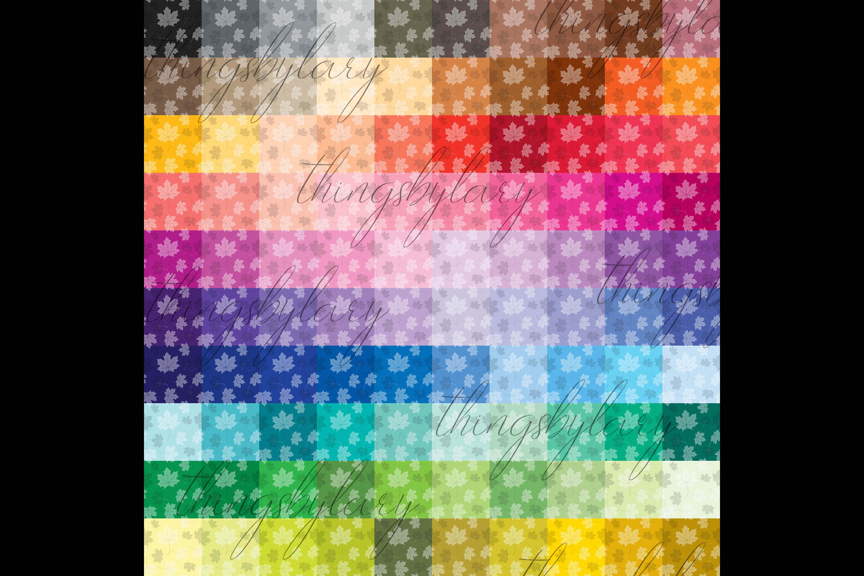 100 Seamless Tinted Autumn Leaves Pattern Digital Papers example image 2