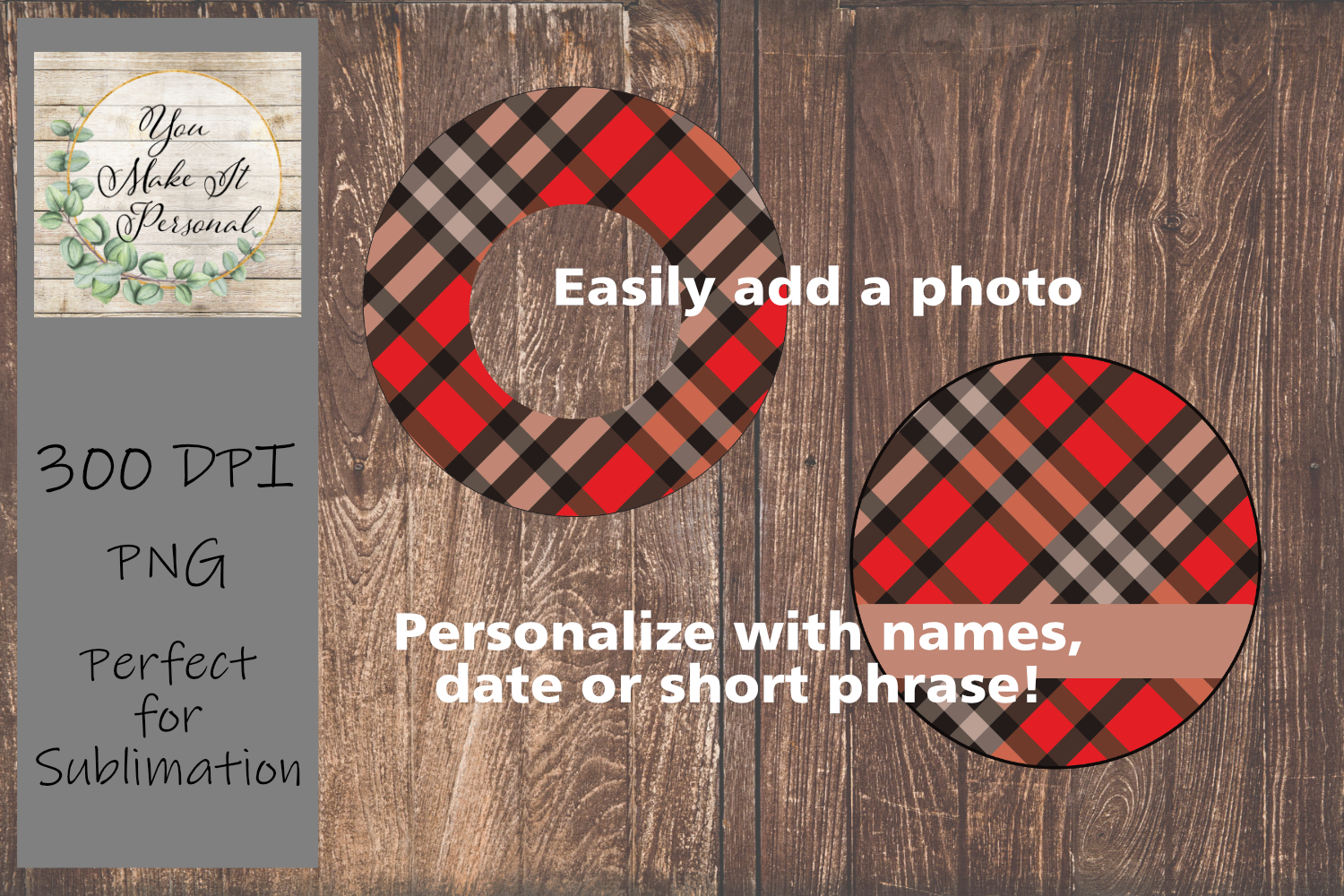 Sublimation Ornament Template - Classic Plaid Design example image 2
