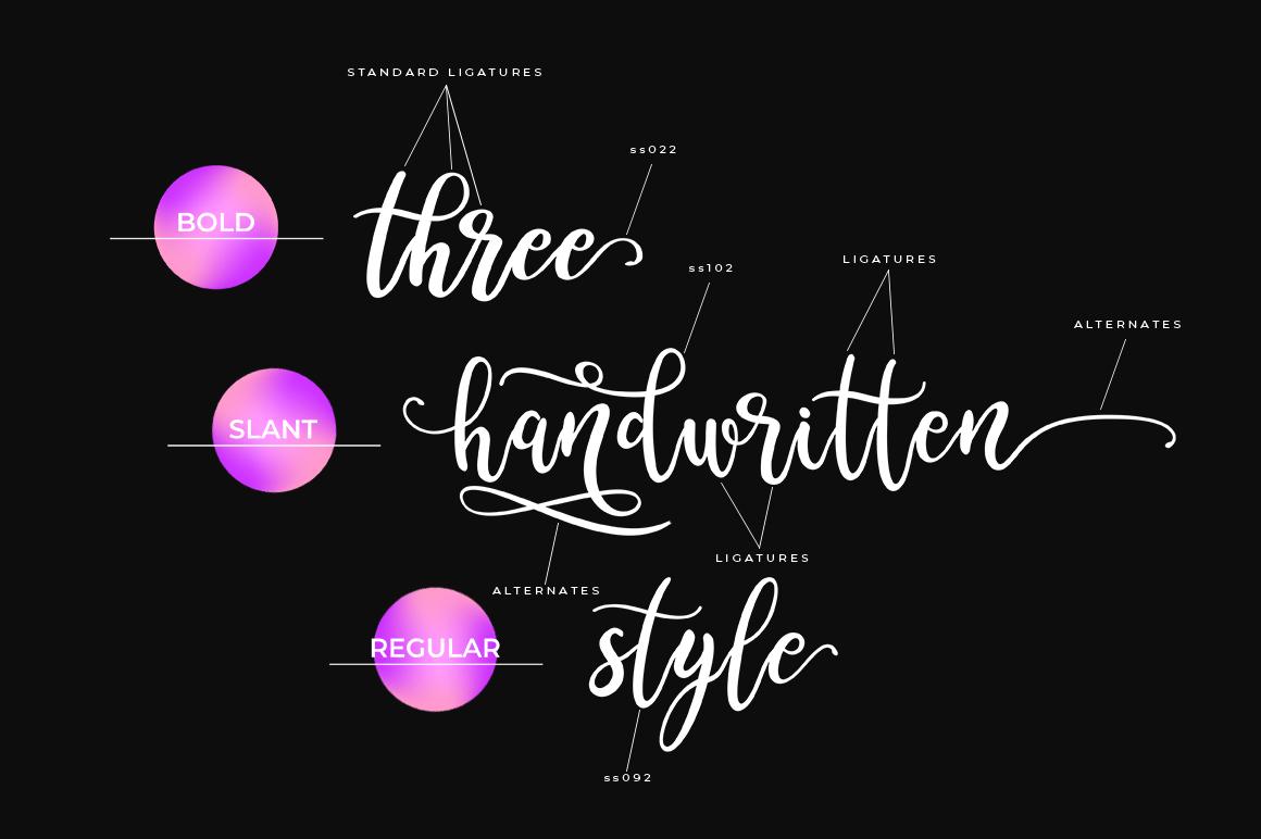 Sreatnes Script - three handwritten style example image 2