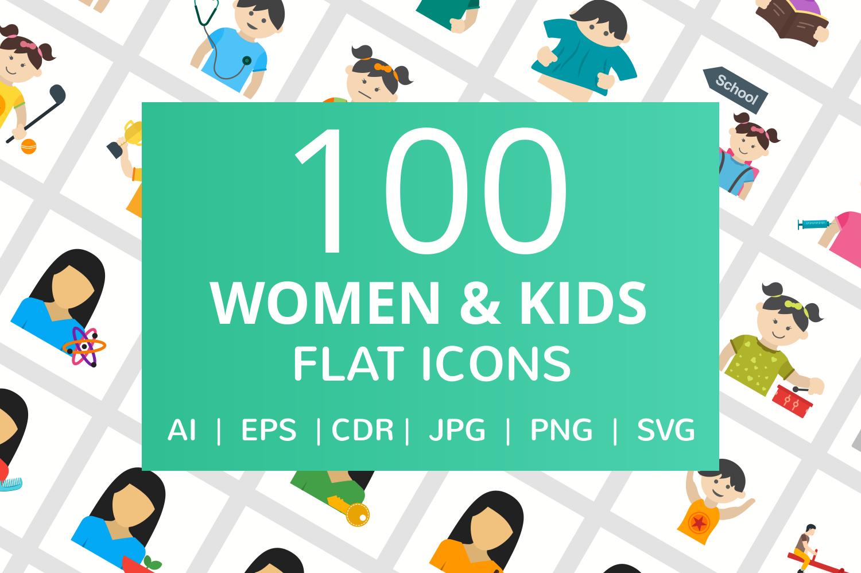 100 Women & Kids Flat Icons example image 1