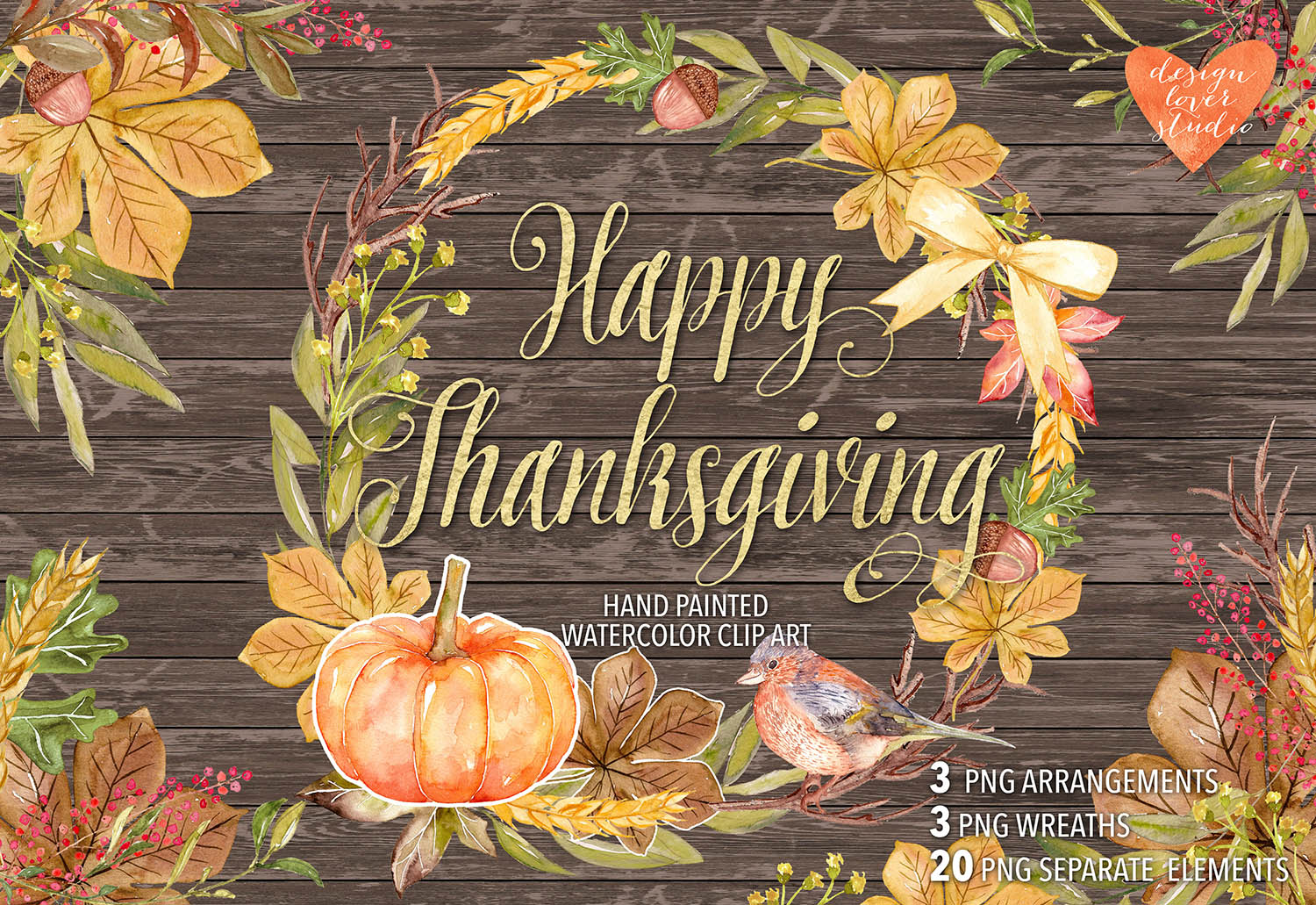 Watercolor Happy Thanksgiving cliparts example image 1