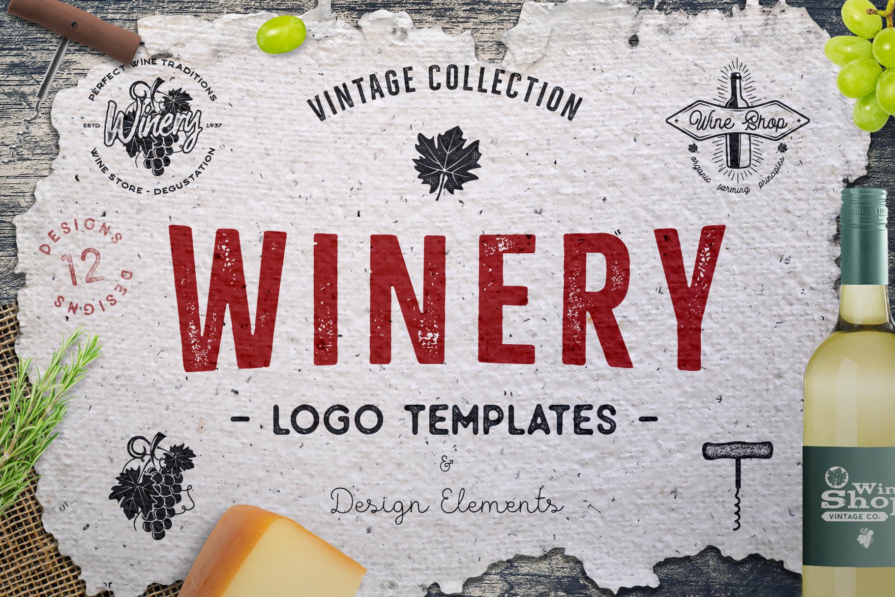Winery Logo Designs & Wine Elements example image 1