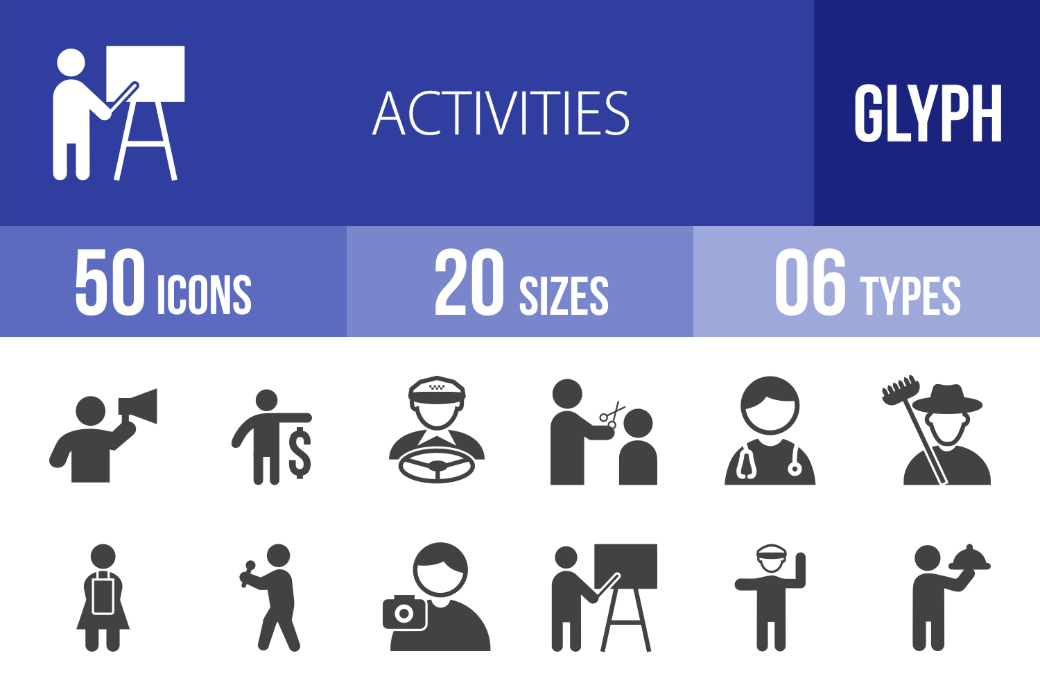 50 Activities Glyph Icons example image 1