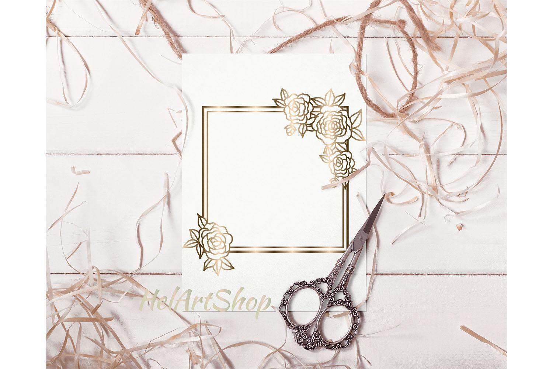 Floral square frame svg example image 2