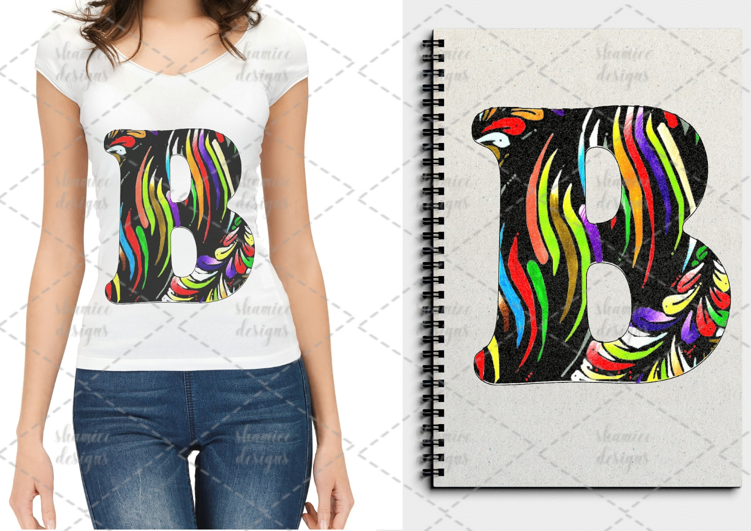 Floral striped coloring letters example image 3