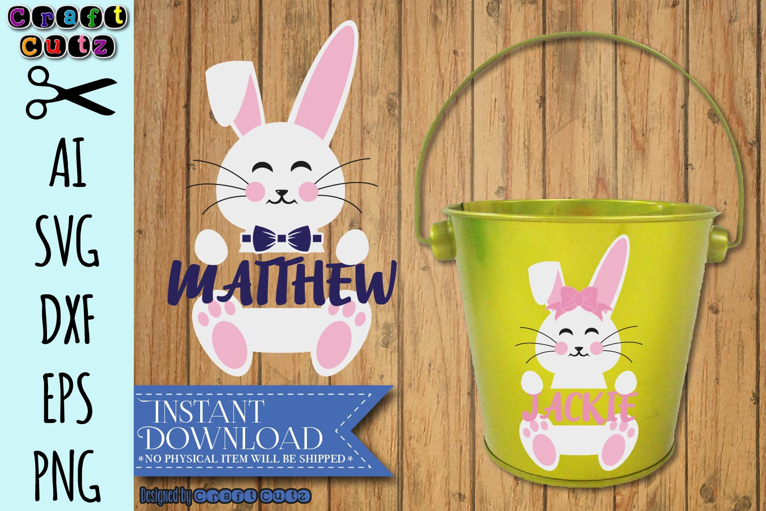 Name Frame Easter Bunny svg, Cute Easter svg, Bunny Monogram example image 2