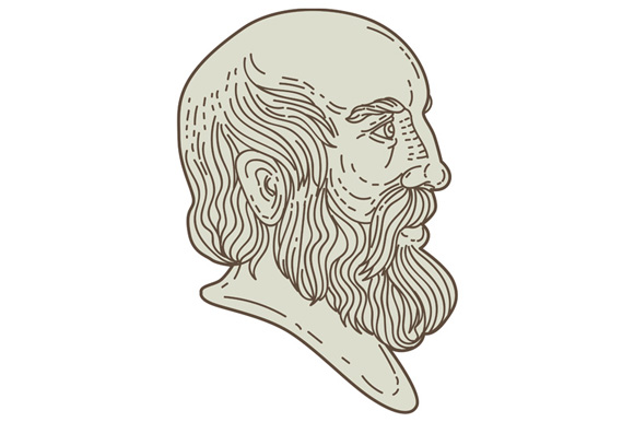 Plato Greek Philosopher Head Mono Line example image 1