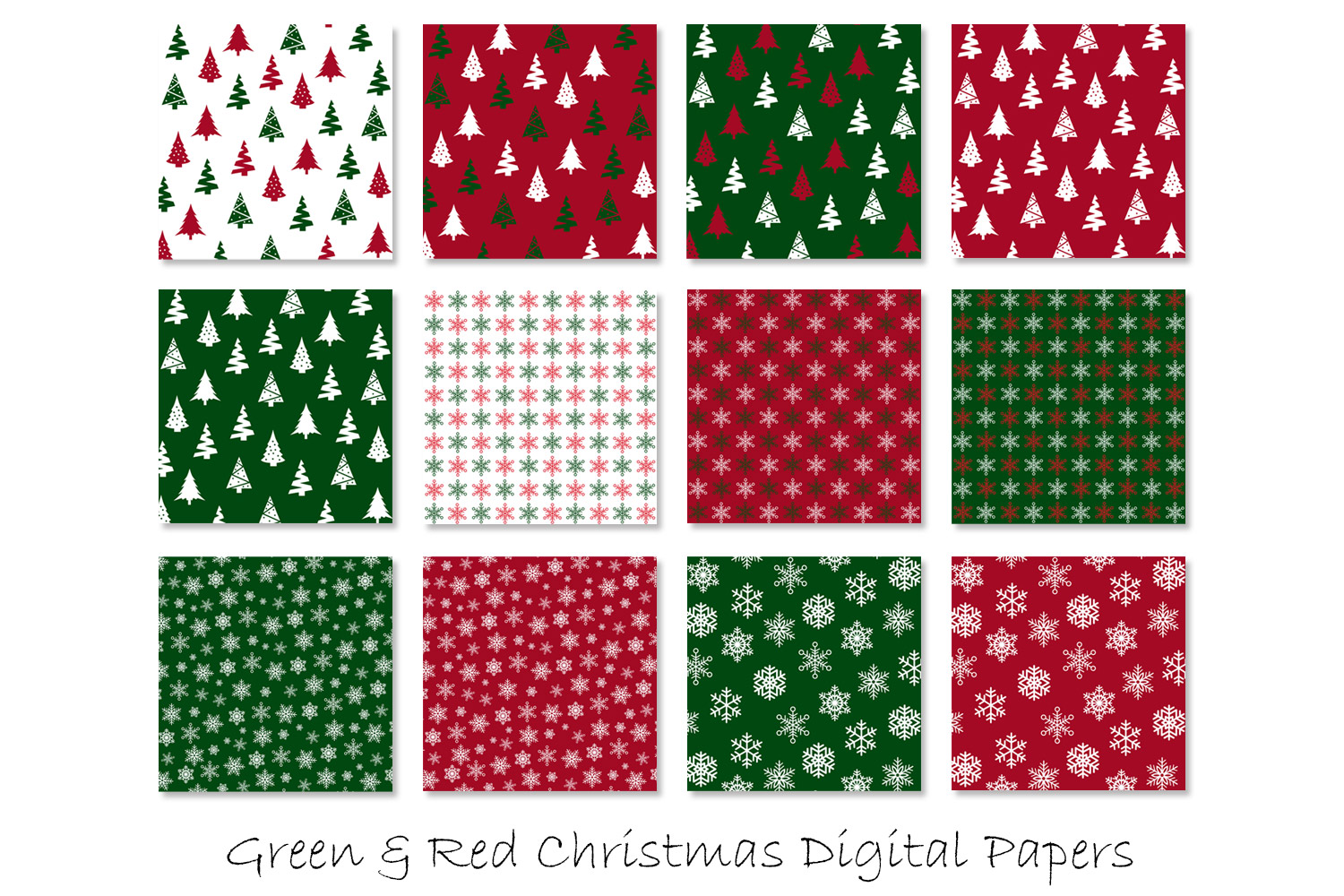 Christmas Digital Paper - Red and Green Christmas Background example image 2
