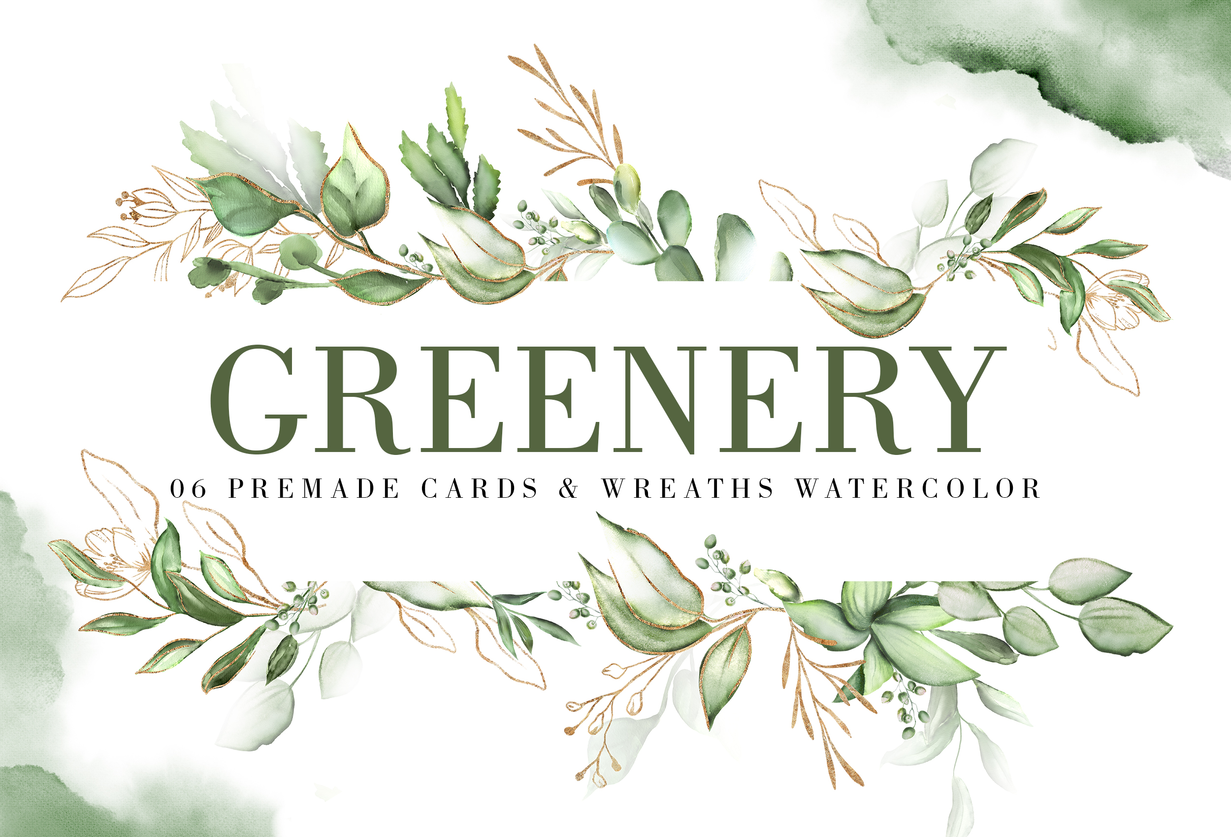 Greenery. Watercolor Elements| Letters gold with flowers example image 8
