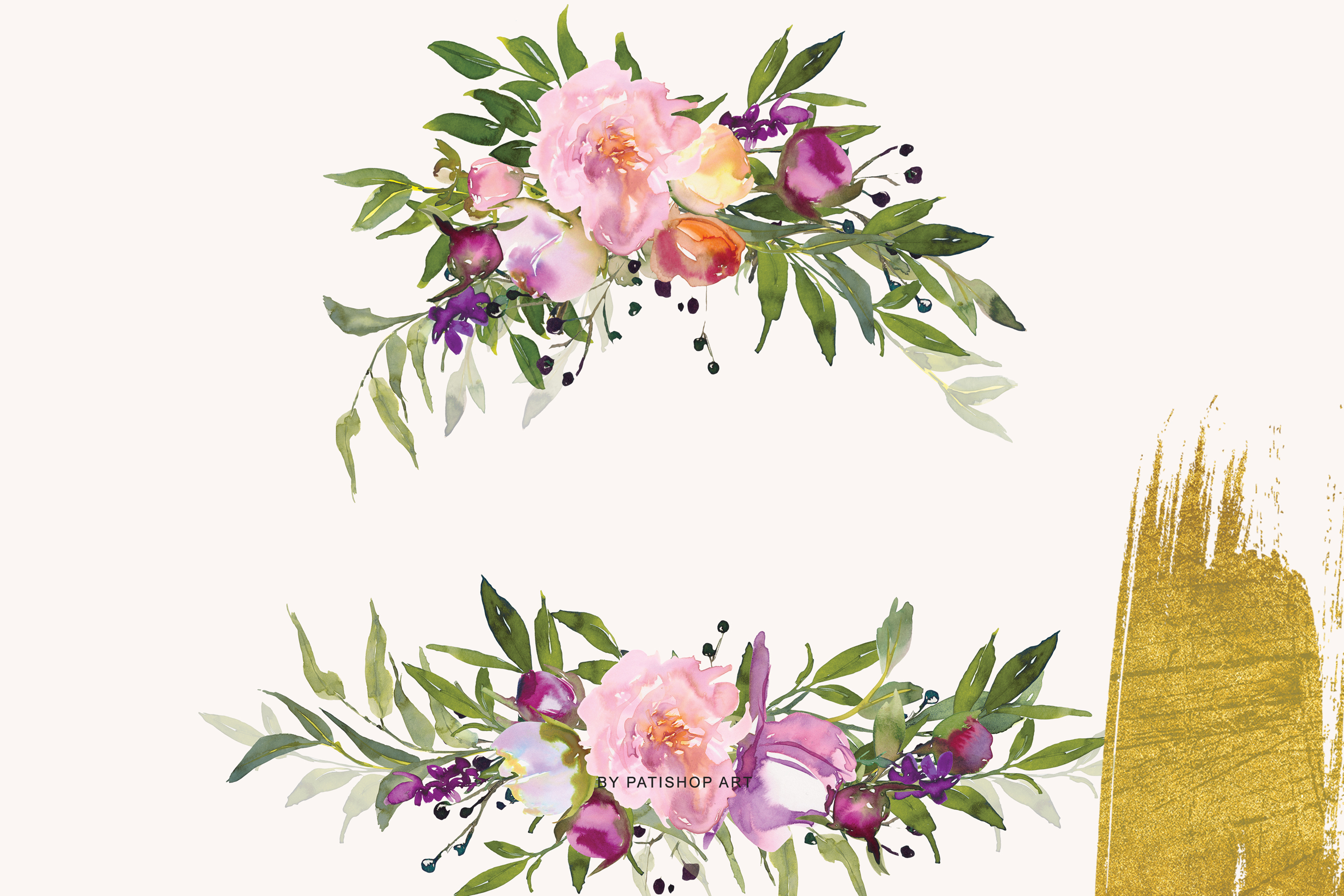Watercolor Pink Peony Collection example image 8