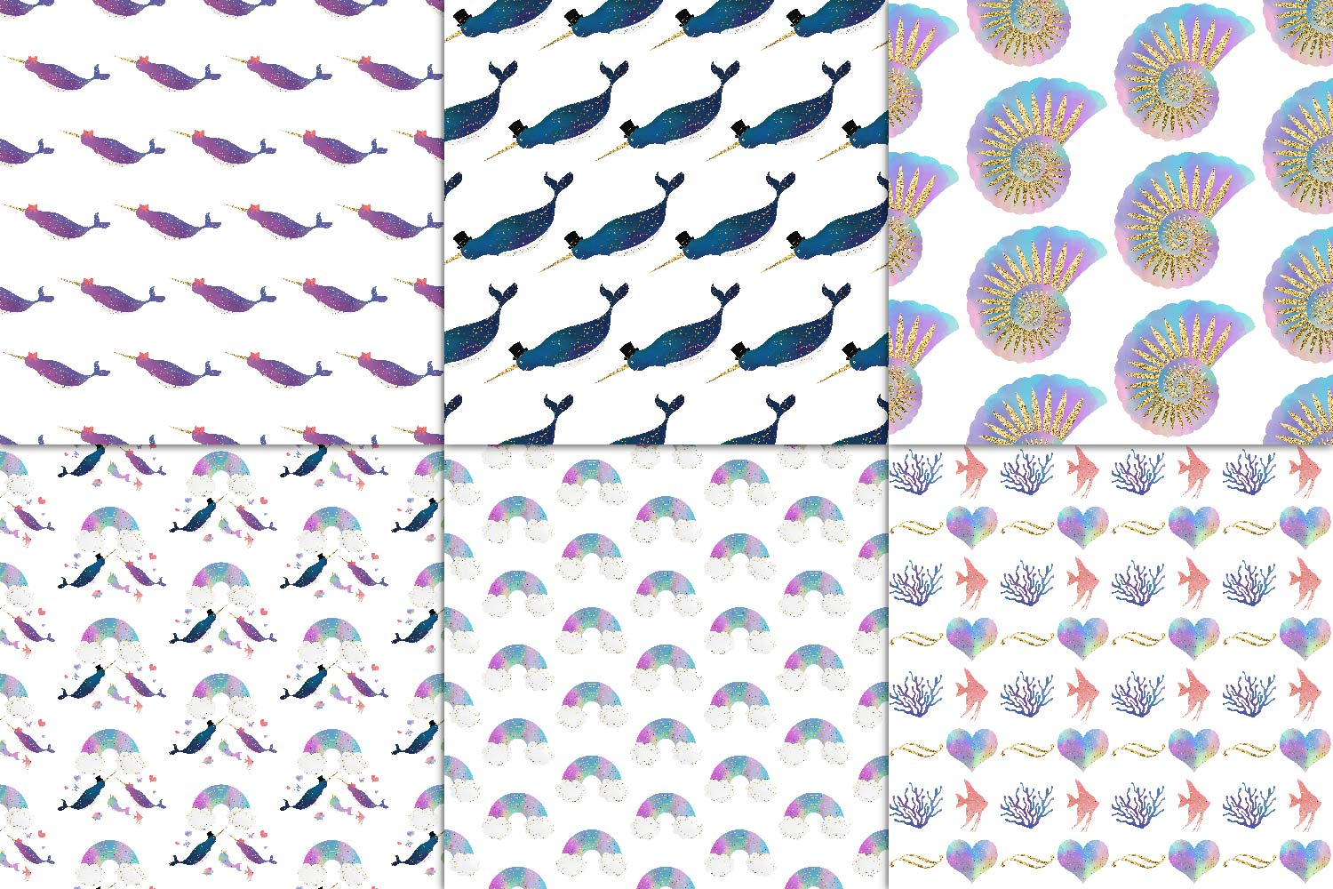Narwhal Family Digital Paper example image 3