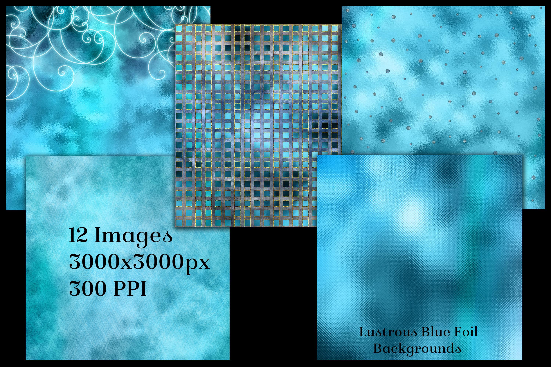 Lustrous Blue Foil Backgrounds - 12 Image Textures Set example image 2
