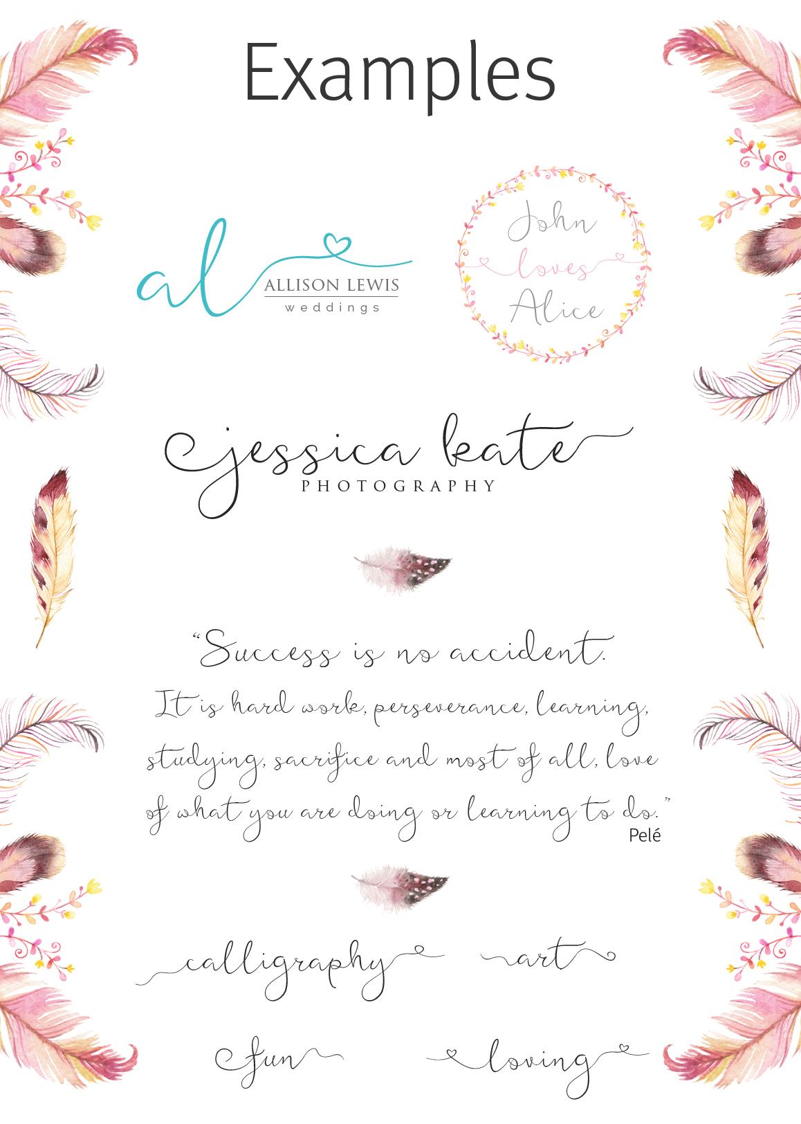 Featherly Font - wedding font example image 5