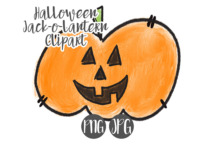 Hand Drawn Halloween Pumpkin Clipart example image 1