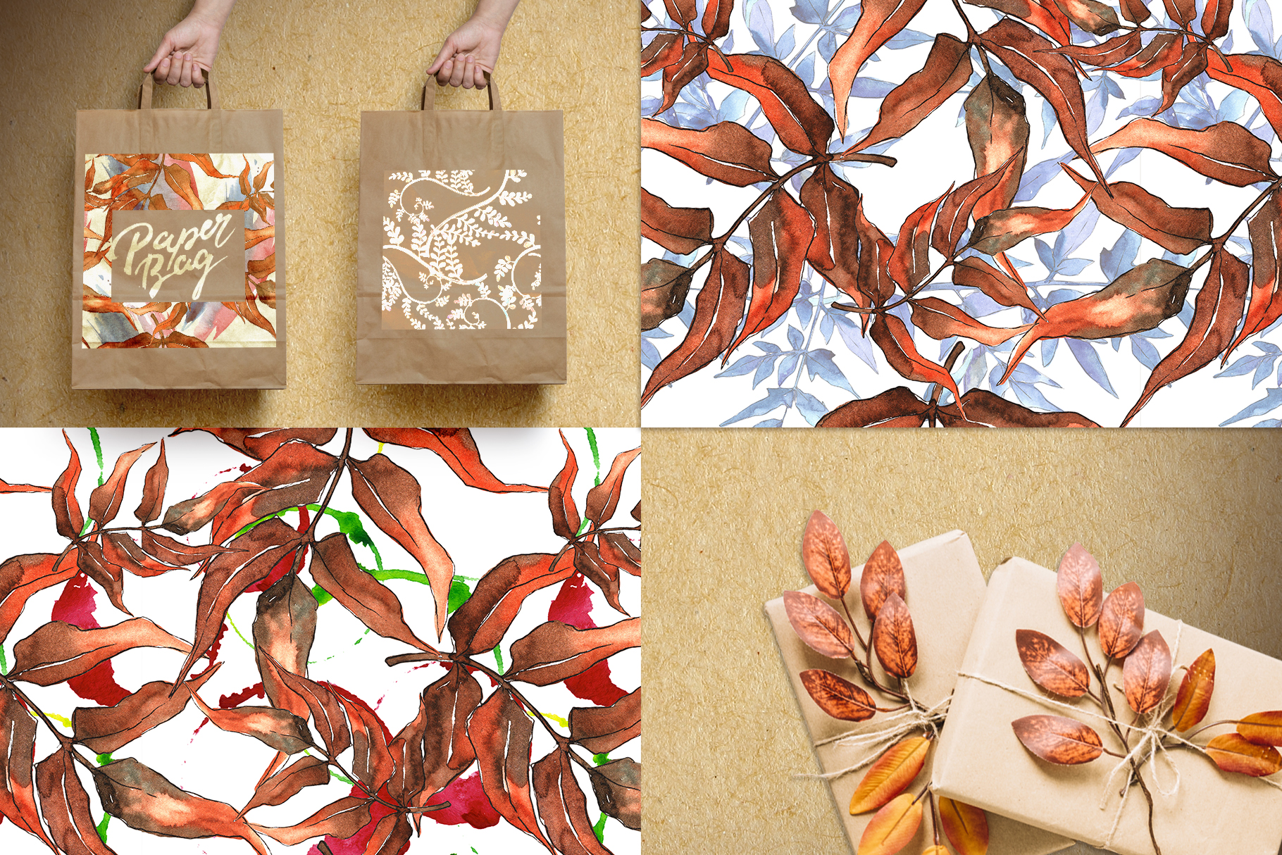 Watercolor autumn leaves png example image 6