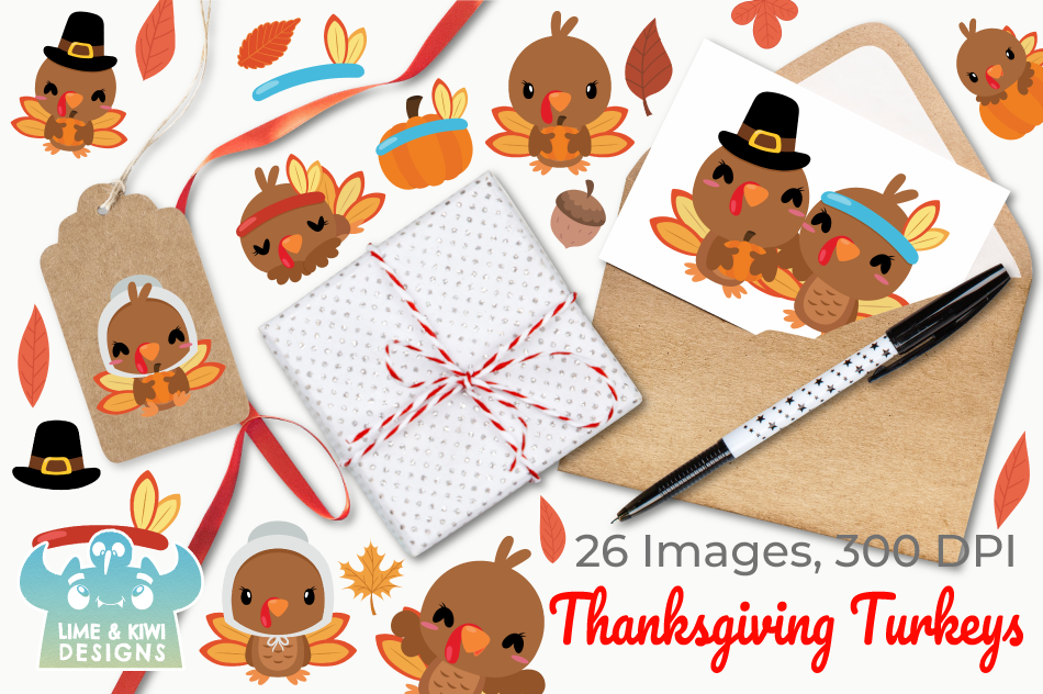 Thanksgiving Turkeys Clipart, Instant Download Vector Art example image 4