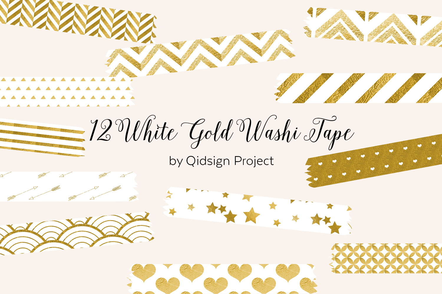 12 White Gold Washi Tape .PNG example image 1