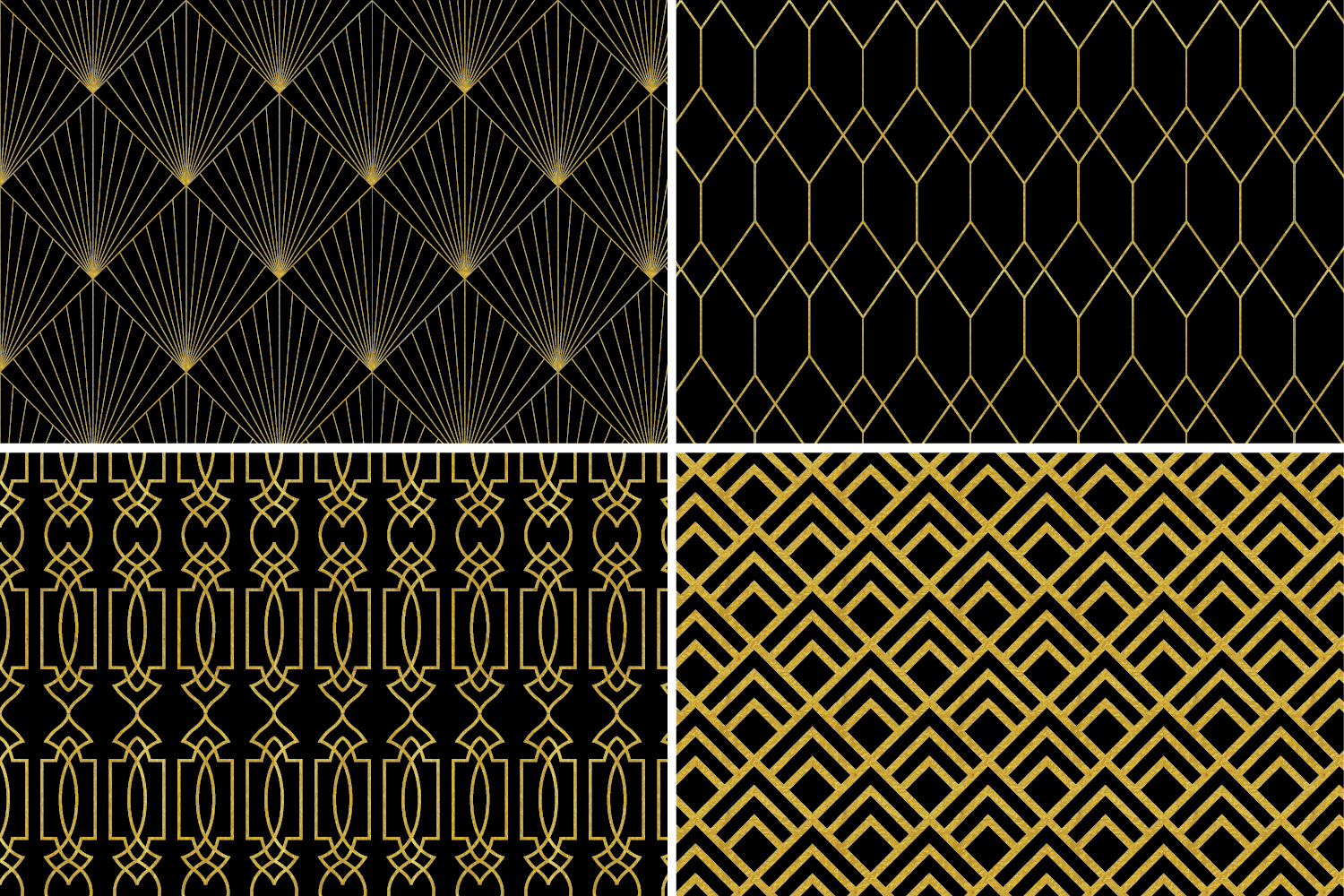8 Seamless Art Deco Patterns - Black & Gold Set 1 example image 5