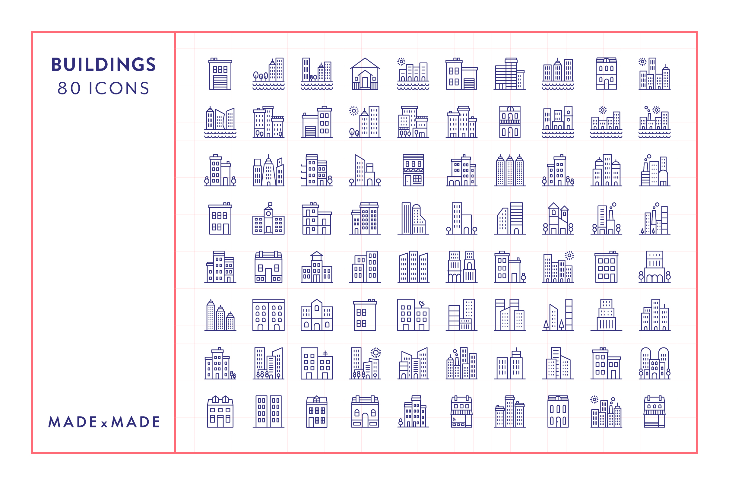 Line Icons - Buildings example image 5
