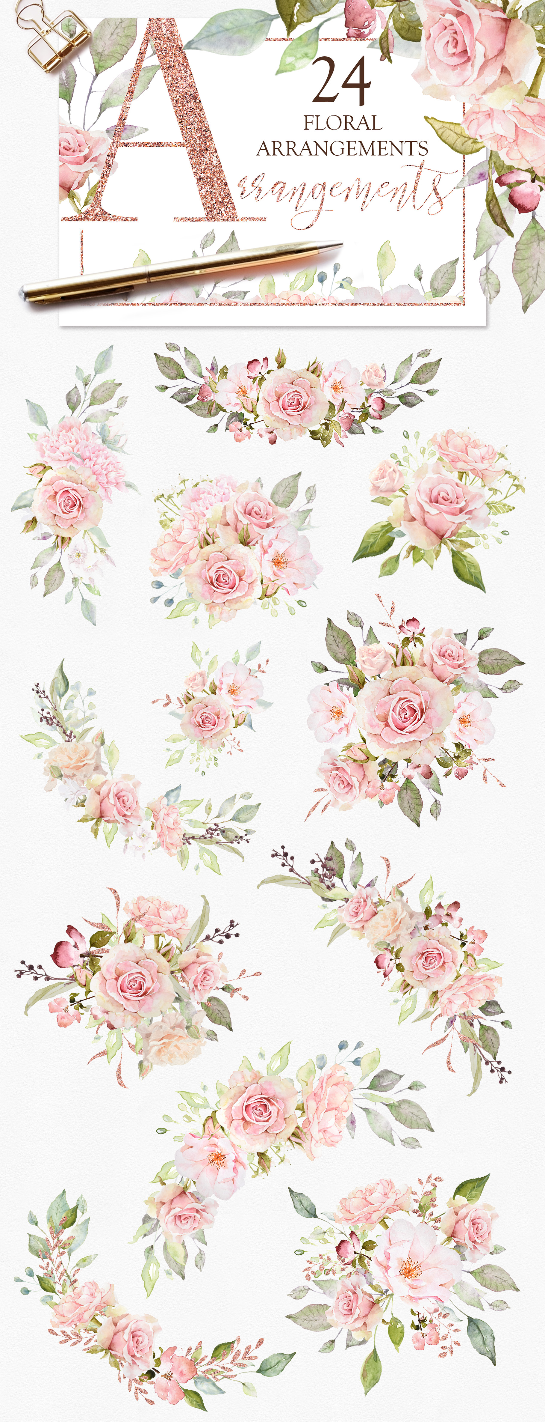 Pretty in Pink Watercolor Collection example image 2