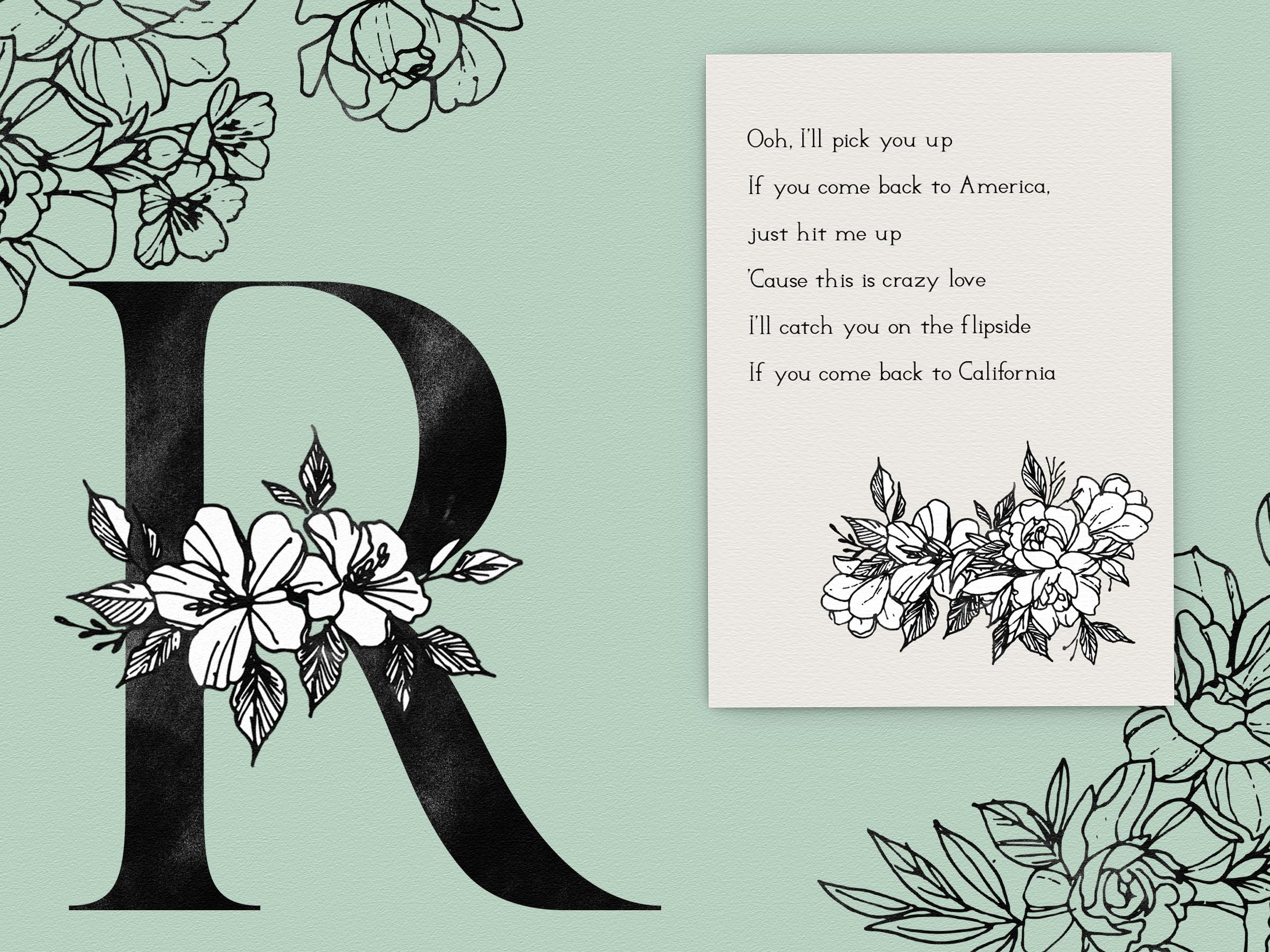 Floral Design Bundle - Monogram Letters Clipart example image 2
