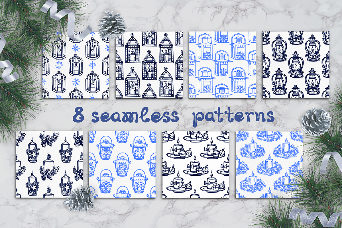 8 hand drawn seamless patterns with candles and lanterns example image 1