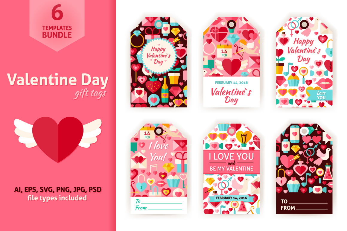 Valentine Day Gift Tag Vector Set example image 1