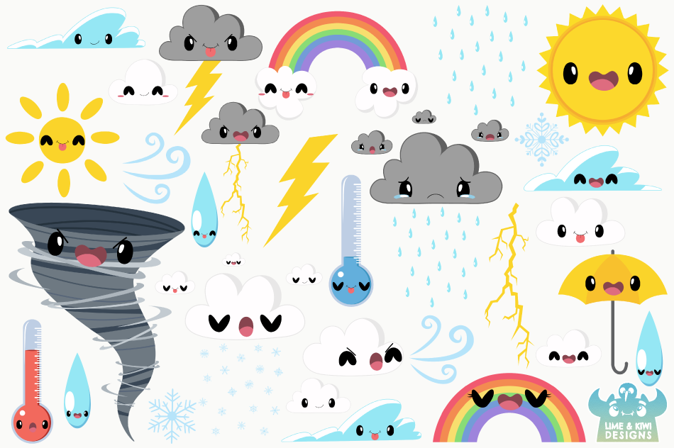 Cute Weather Clipart, Instant Download Vector Art example image 2