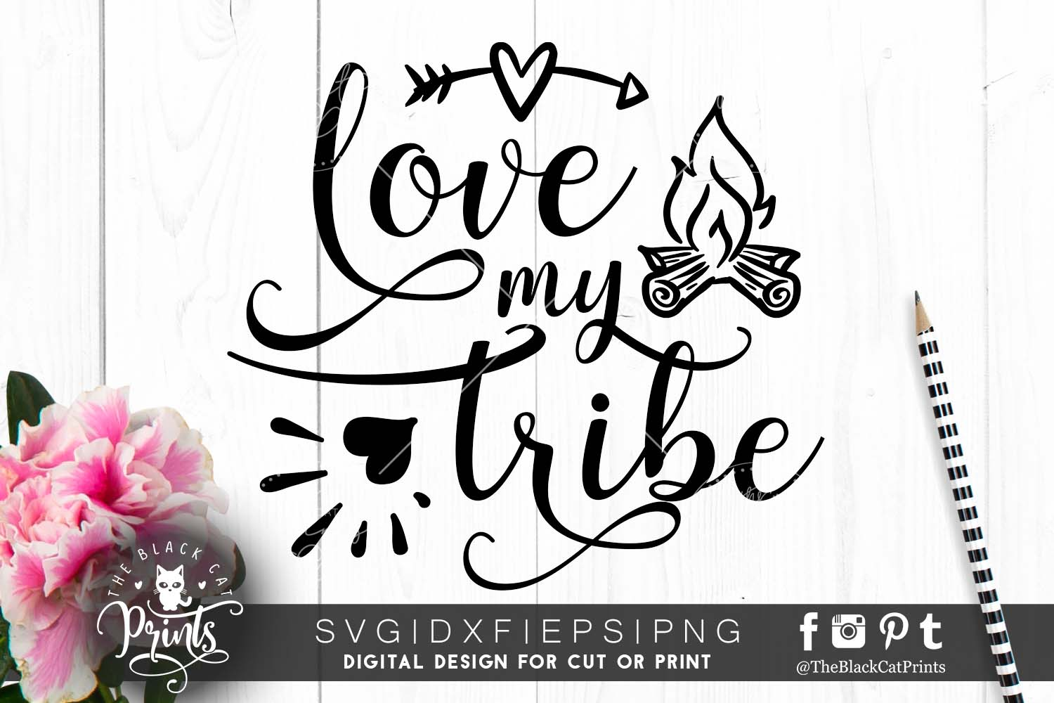 Love my tribe   heart, arrow & fireplace SVG PNG EPS DXF example image 1
