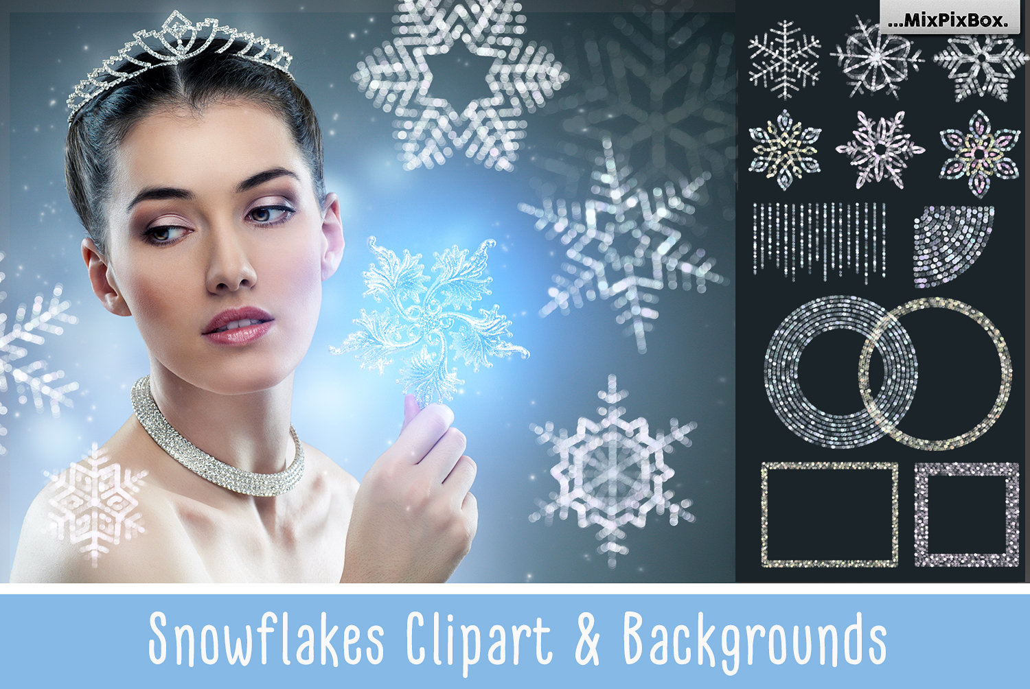 Snowflakes clipart and backgrounds example image 1